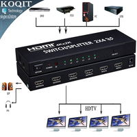 4K*2K HDMI 2x4 Matrix + Audio Extractor HDMI Switch Splitter Converter Adapter With Remote Control 2 in 4 out 4K 3D 1080p v1.4