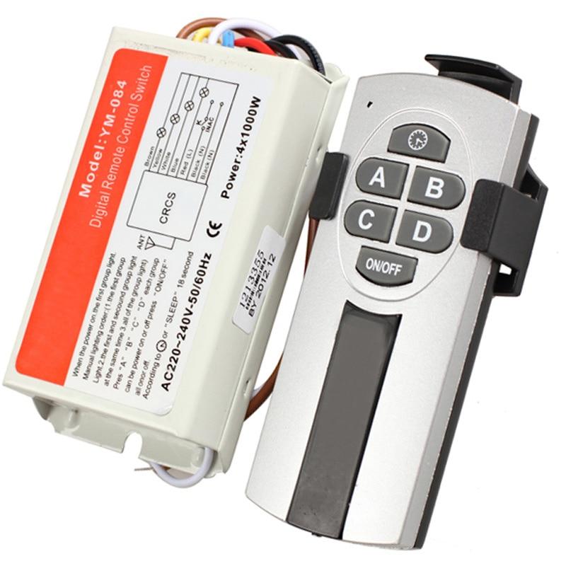 DIY 1/2/3/4 Ways ON/OFF 220V Wireless Remote Control Switch Digital Remote Control Switch For Lamp & Light --M25