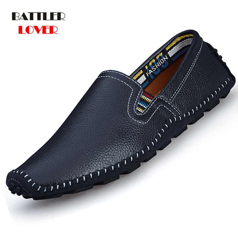 Fashion Men Comfortable Casual Shoes Soft Surface Genuine Leather Slip on loafers Summer Shoes New Mens Driving Adult Shoe 2019