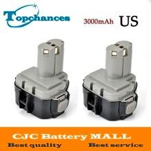 High Quality 2PCS 12V 3000mAh Ni-MH Battery for MAKITA 1235 1233 192698-A 1050D 4013D 6227D 8413D