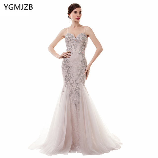988151f73a Elegant Long Evening Dresses 2018 Mermaid Sweetheart Spaghetti Strap  Backless Beaded Crystal Lace Women Evening Gown Prom Dress