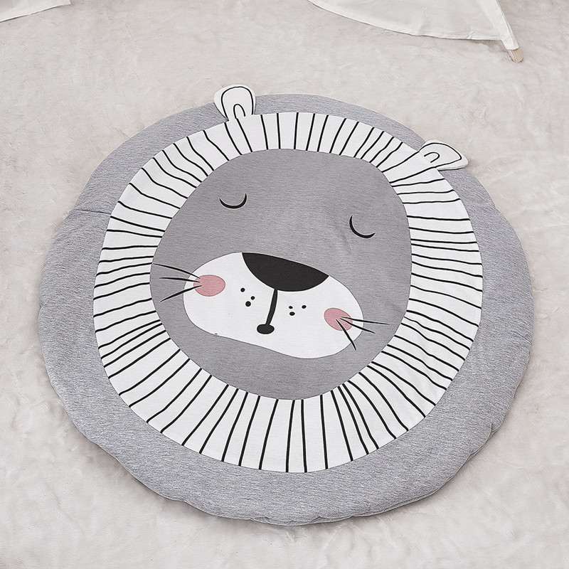 90 CM Animals Lion Baby Quilted Round Play Mats Children Developing Blankets Crawling Rug Carpet for Kids Room Decoration