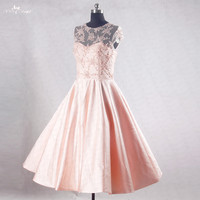 RSE734 Cap Sleeve A Line Pearls Beading Knee Length Peach Pink Short Homecoming Dresses 2016