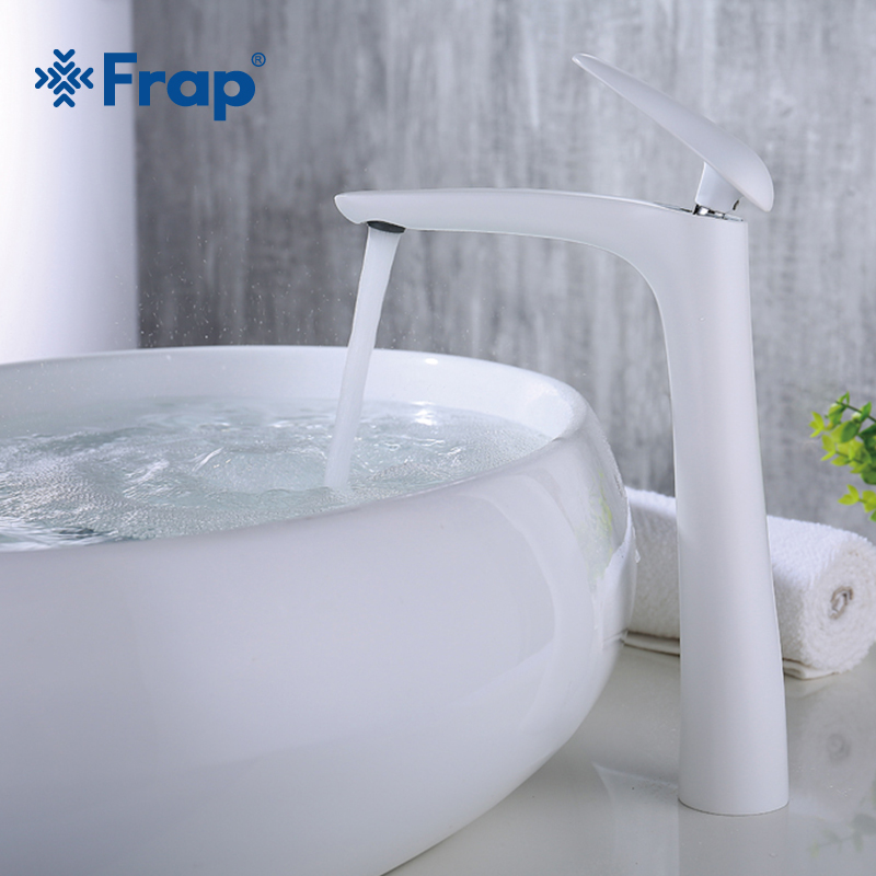Frap 2018 Новый латунь высокий белой краской Для ванной комнаты Смеситель Для ванной раковина крана torneira холодной и горячей смеситель воды Y10016