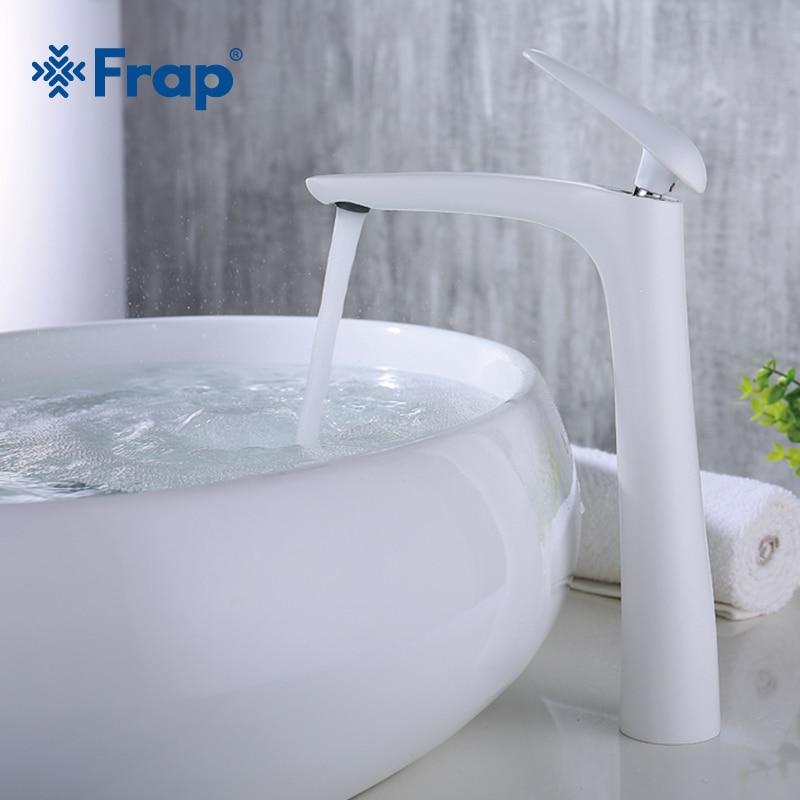 Frap 2018 Новый латунь высокий белой краской ванной бассейна кран ванна раковина крана Torneira холодной и горячей воды смесителя Y10016