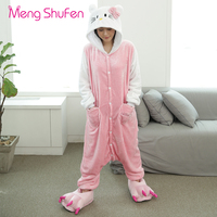 Mengshufen Pajamas Set Women White KT Winter Mans Sleepwear Flannel Cotton Animal Pyjamas Set Unsiex Winter