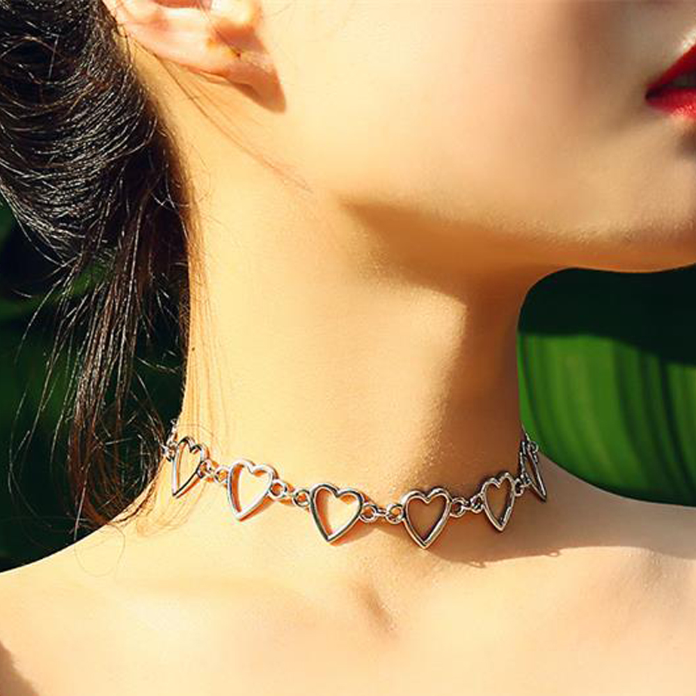 New Fashion Mujer Korean Sweet Love Heart Choker Necklace Statement Girlfriend Gift Cute Necklace Jewelry Collier Femme Gifts