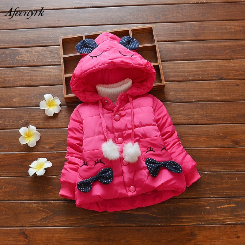 New 2017 Winter Hooded Jacket For Girls Cotton Padded Clothes Children Bow Cashmere Cute Cartoon Rabbit Warm Outerwear Coats children winter coats jacket baby boys warm outerwear thickening outdoors kids snow proof coat parkas cotton padded clothes