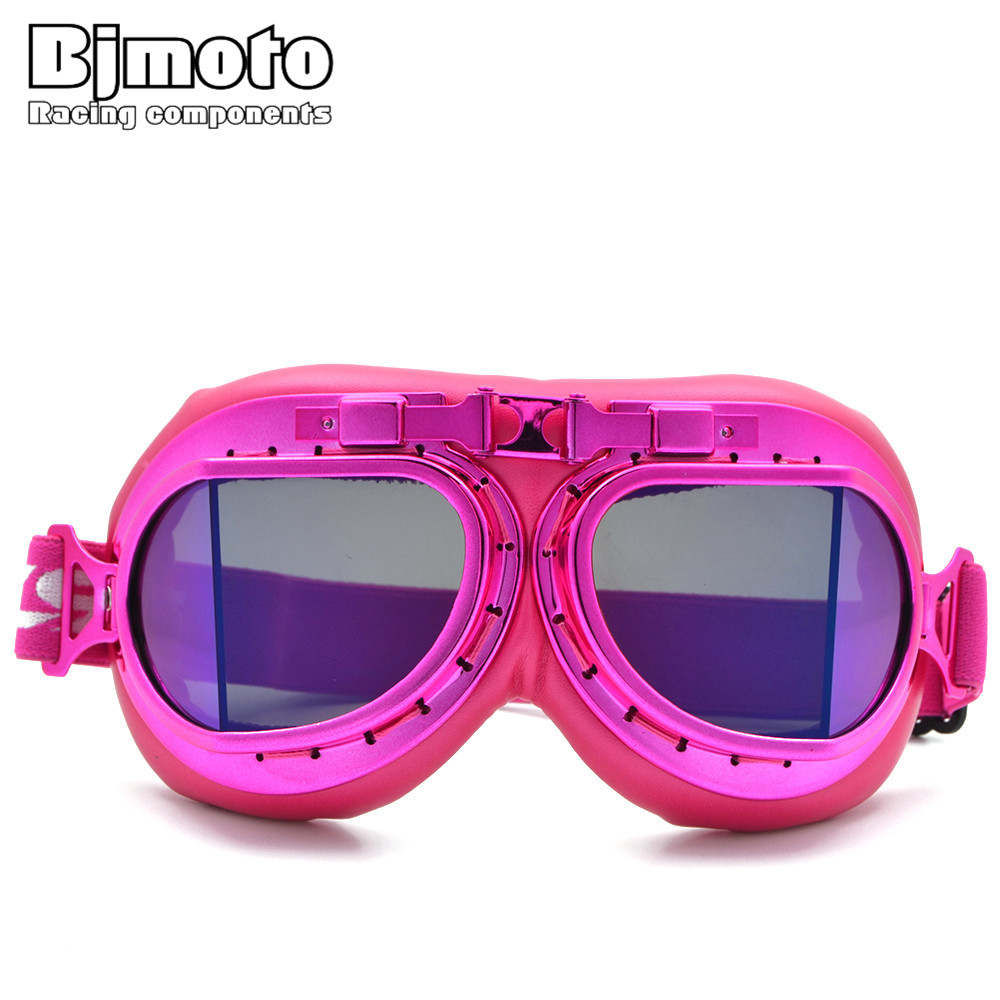Bjmoto moto Pink Goggles Glasses Vintage Pilot goggles For Harley motorcycle helmet goggles