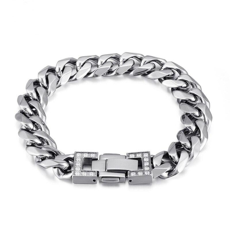 Hommes Bracelet couleur argent 316L acier inoxydable Bracelet & Bracelet homme accessoire Hip Hop fête Rock bijoux S225