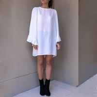 Female Long Flare Sleeve Loose Sexy Blouses Autumn Summer Solid O Neck Ladies Shirts Back Open