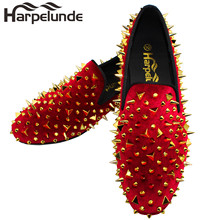 Harpelunde Men Spikes Casual Shoes Red Velvet Loafers