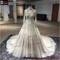2016 Superar Venda Direta Vestidos de Baile Mangas Compridas Alta-neck Vestidos de Costura À Mão Frisado Vestido de Casamento China