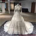 2016 Surmount Direct Selling Ball Gowns Long Sleeves High-neck Hand Sewing Beaded Dress China Wedding Dresses