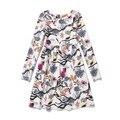 Teenage Girls Flower Dress 2016 New Casual Long Sleeve Bird Print Dresses Cotton Linen Graffiti Vestidos European Style GD98E