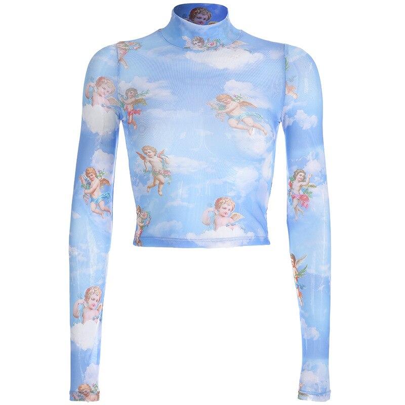 Women Sexy Turtleneck Angle Print t shirt Perspective Mesh Long Sleeve Shirt Women Fashion Streetwear Summer Crop Top see through angel shirt