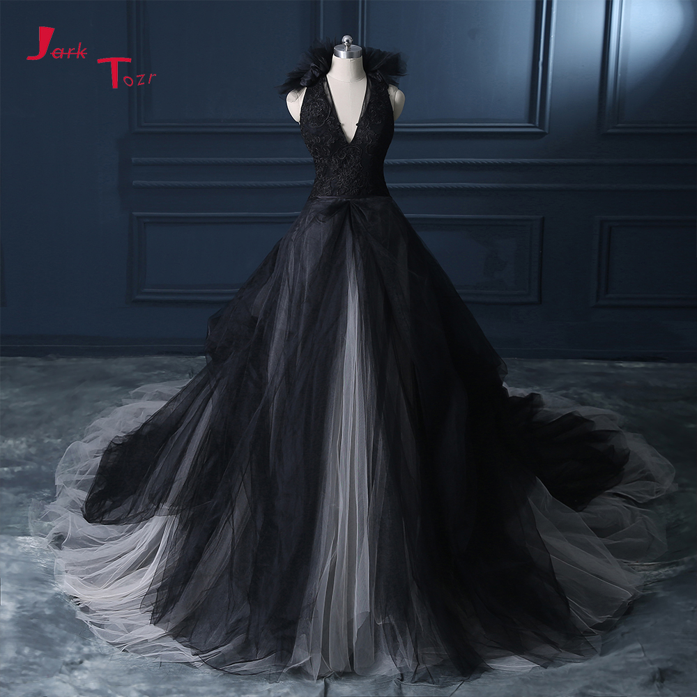 Jark Tozr Vestido De Casamento V neck Appliques Bodice Black