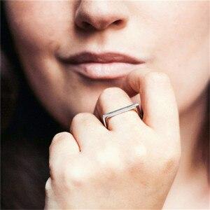 Image 3 - 100% 925 スターリングシルバーリング女性用 minimalis オフィスシンプルなデザインリングトレンディファインジュエリーアクセサリー anillos mujer