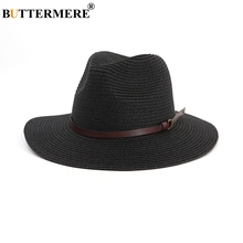 BUTTERMERE Women Sun Hat Outdoor Black Ladies Straw Hats With Buckle Belt Female Spring Casual Panama Jazz Caps Fedora