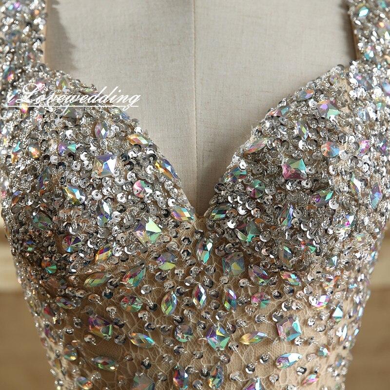Glänsande Champagne Sjöjungfrun Sida Split Prom Klänningar Med - Särskilda tillfällen klänningar - Foto 5