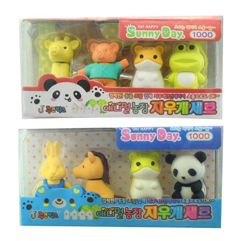 Animals Cartoon Rubber Pencil Eraser Set For Kids Gift Borrachas De Escola Stationery Fun Toy Material Escolar School Supplies