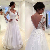 Новые белые свадебные платья длиной до пола с открытой спиной и v образным вырезом, пляжные свадебные платья, белые кружевные длинные рукав