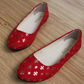 Четыре сезона женщины плоские Туфли Ретро блестки Лето Повседневная обувь балетки скольжения на Женской обуви женщина Мокасины zapatos mujer
