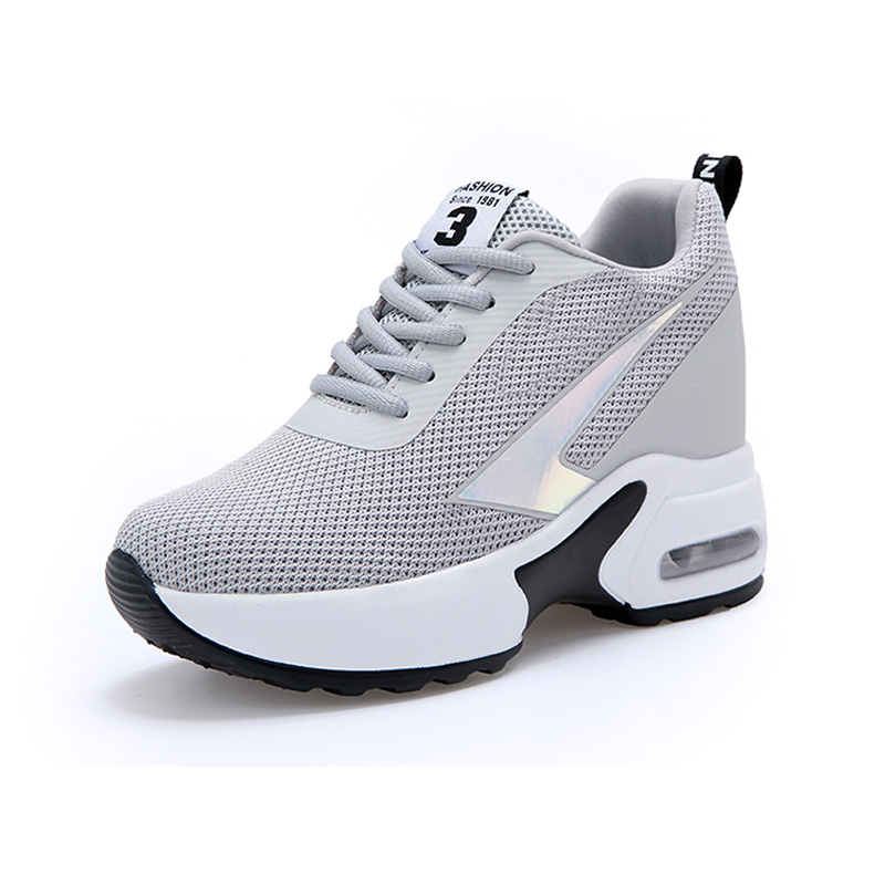 Image 3 - Fashion Air Mesh Height Increased Casual Shoes Woman Breathable Lace Up Platform Sneakers Hide Heels Women Wedge Sneakers XZ127-in Women's Vulcanize Shoes from Shoes