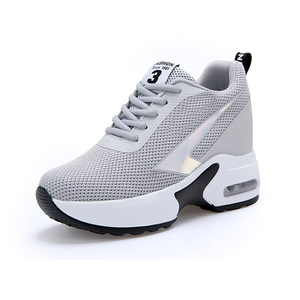 Image 3 - Fashion Air Mesh Height Increased Casual Shoes Woman Breathable Lace Up Platform Sneakers Hide Heels Women Wedge Sneakers XZ127