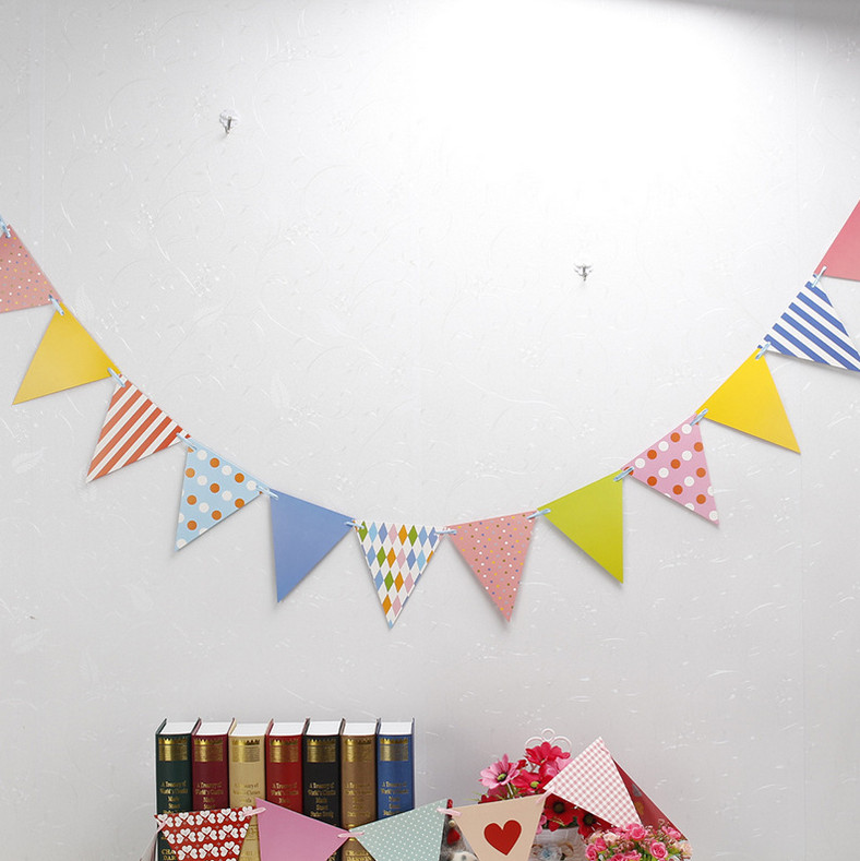 Girls Party Bunting 1 Banner Flags Per Bunting Length 2.5m Party Favors kids boy Mickey  ...