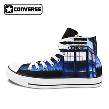 High Top Converse All Star Design Custom Police Box Galaxy Hand Painted Shoes Women Men Sneakers