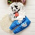 Estilo de la manera embroma la Ropa Del Bebé Sistemas de la Ropa de Mickey Mouse Del Algodón de Manga larga 2 unids Muchacho/Ropa de Las Muchachas