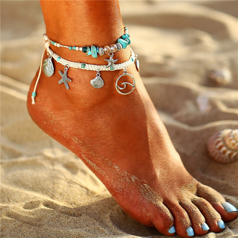 IF ME Bohemian Multiple Layers Starfish Turtle Beads Anklets For Women Vintage Boho Shell Chain Anklet Bracelet Beach Jewelry 2