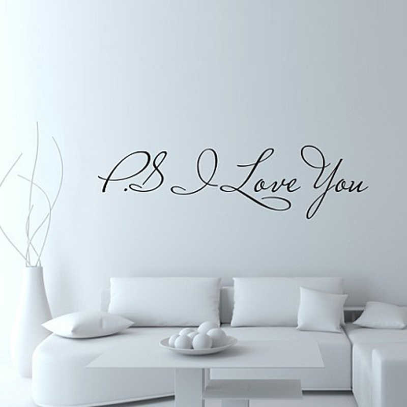 Hot Selling Ps I Love You Vinyl Wall Quotes Stickers Sayings Home Art Decal Drop Shipping
