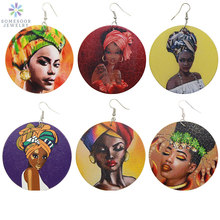 SOMESOOR Vintage Headwrap Woman African Wood Drop Earrings Jewelry Afro Queen Black Art Portrait Painting Dangle For Lady Gift
