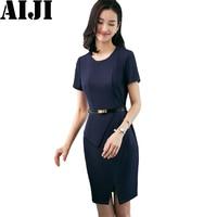 2018 Spring Summer Ashion O Neck Ladies Dresses OL Formal Business Short Sleeve Slim Woman Clothing