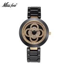 37a85f3cba Missfox trébol de cerámica relojes para mujer relojes 2016 marca de lujo  xfcs superior Oro Negro reloj de cerámica mujeres pulse.