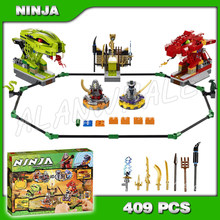 409pcs Ninja Spinner Battle Snake Dragon Arena Ashram 9758 Model Bouwstenen Sets Jigsaw Bouw Compatibel met Lego(China)