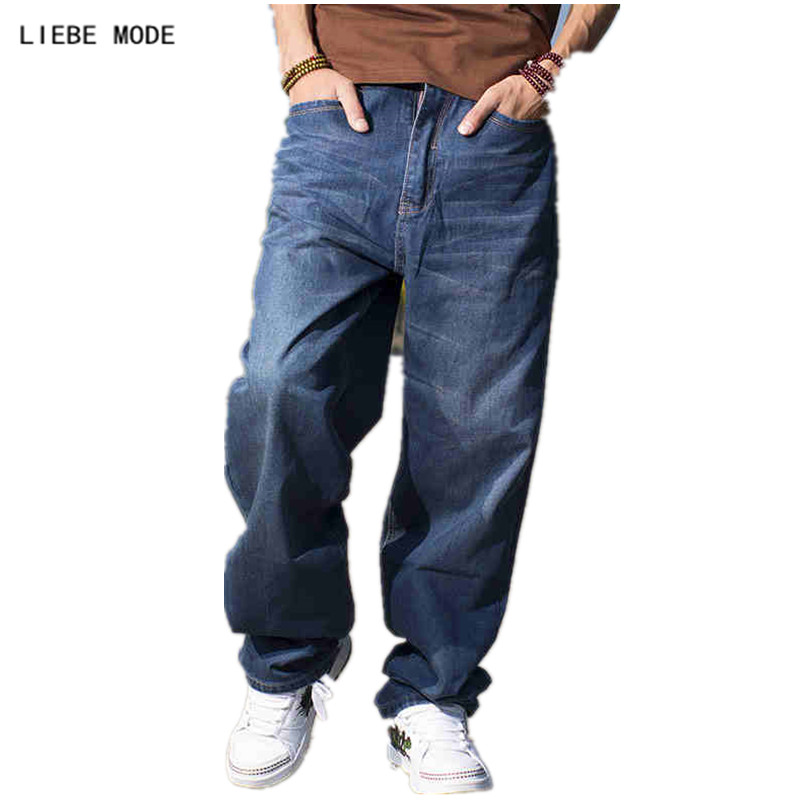 Baggy Style Brand Mens Loose Jeans Plus Big Size Jeans Men Hip Hop Jeans Long Skate Board Jean Harem Pants Blue 38 40 42 44 46
