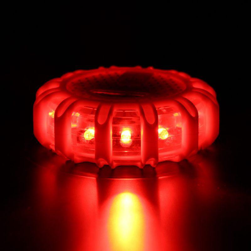 1 stücke 12 * LED Notfall Sicherheit Flare Red Road Flare Magnet Blinkende Warn Nacht Lichter Am Straßenrand Disc Leuchtfeuer Für auto Lkw Boot