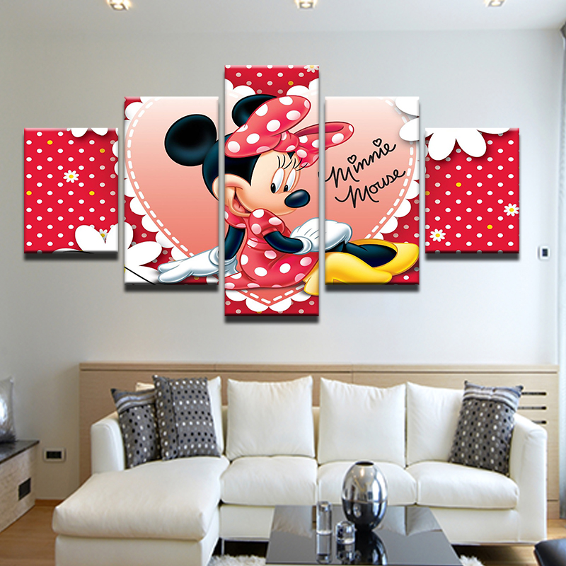 5 Pieces Oil Painting Canvas Prints Cartoon Mickey Wall Art Pictures for Home Mouse Decoration Gift Girls Room Minnie Kids Room-in Painting u0026 Calligraphy ... & 5 Pieces Oil Painting Canvas Prints Cartoon Mickey Wall Art Pictures ...