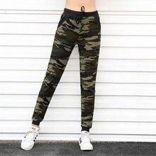 Military style Women Camouflage print pants Fashion Drawstring High waist slim green patchwork Pockets Wild lady Pencil pants slogan print drawstring waist pants