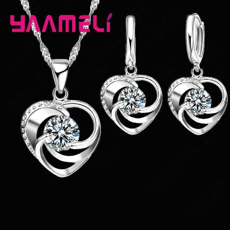 Dauerhafte Mystische Reine 925 Sterling Silber Herz Form Anhänger Halskette Ohrringe Schmuck-Set Für Frau Mädchen Dame Geschenke