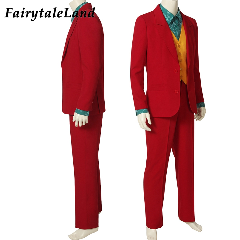 2019 Movie Joker Arthur Fleck Cosplay Costume Fancy Carnival Halloween Costumes Batman Cosplay Joker Costume Red Suit