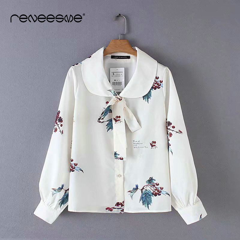 casual 2019 new chiffon women blouse long sleeve peter pan collar print floral bow tie ladies shirts blusas chic office blouses
