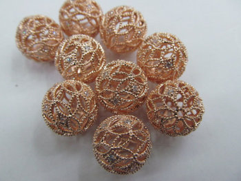 35%off--22pcs 15mm Platinum Plated Micro Pave set cubic zirconia beads round ball carved silver gold gunmetal rose gold charm co