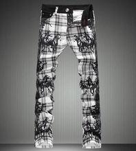 Новый Мужчины Верховая Печати Плед Джинсовые Брюки Мода Slim Джинсы