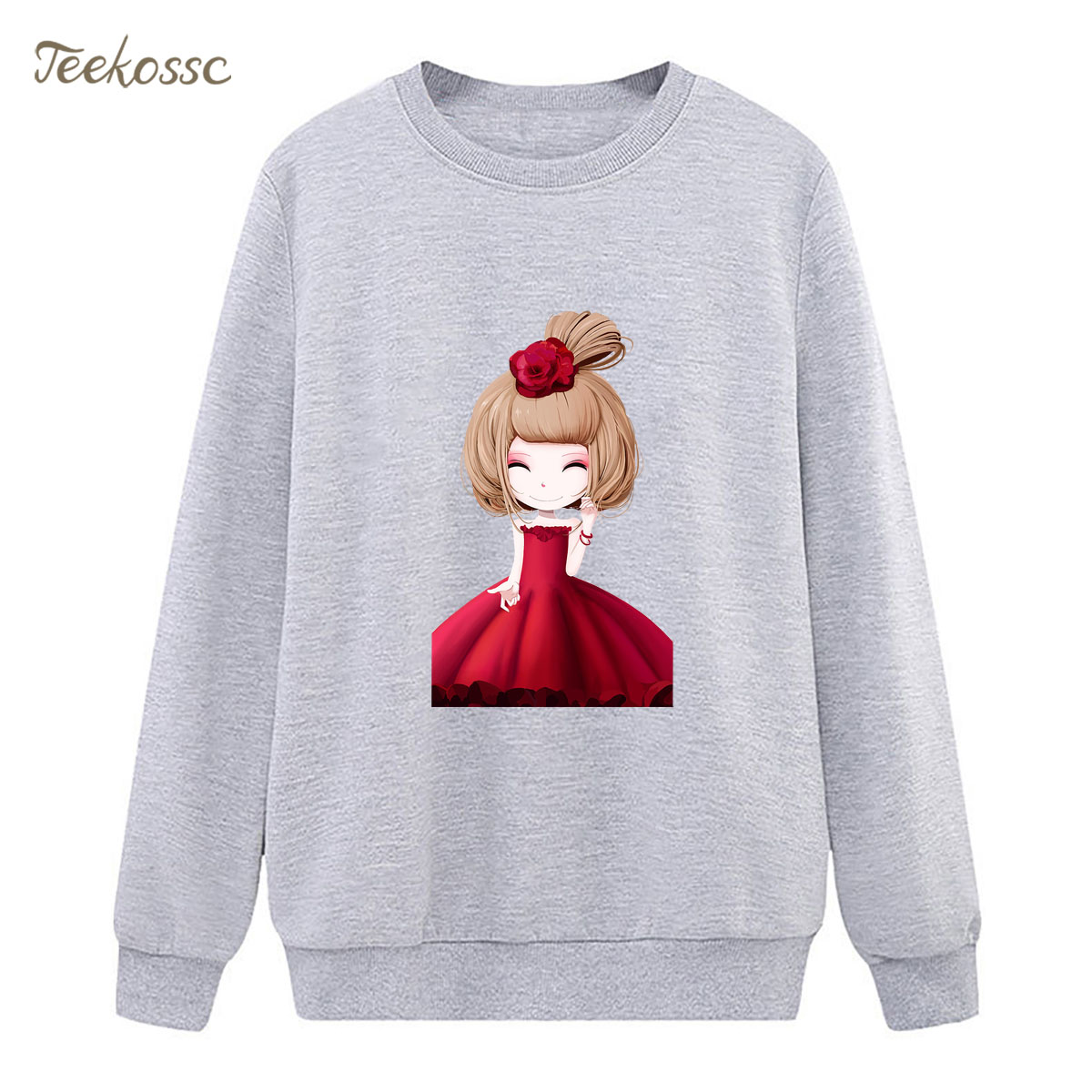 Red Skirt Girl Sweatshirt Gray Casual Hoodie 2018 New Brand Winter Autumn Women Lasdies Pullover Fleece Warm Loose Streetwear