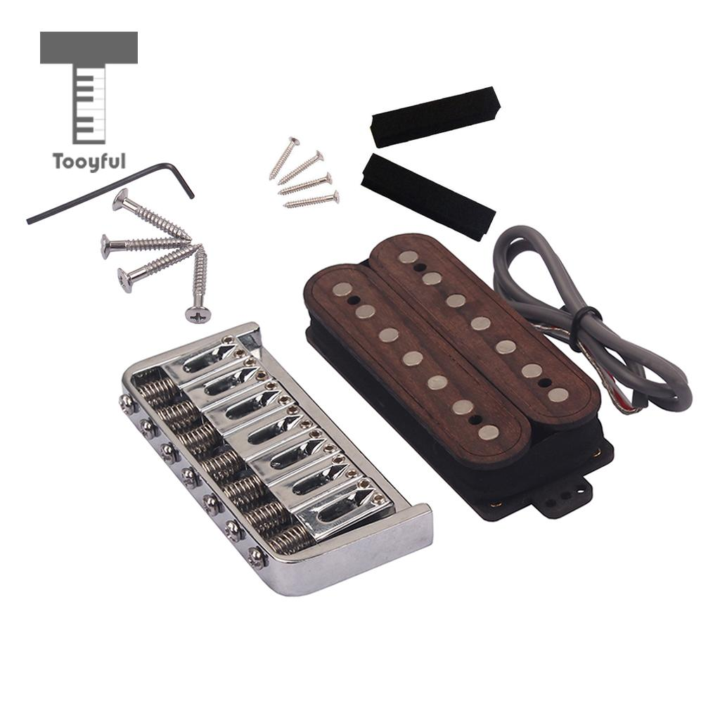 Tooyful Replacement Double Coil Humbucker Pickup Rosewood w/ Bridge Screws for 7-String ESP Guitar humbucker pickup for electric guitar double coil bridge and neck pickups set replacement chrome