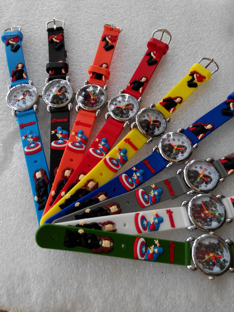 2015 NEW 10pcs/lot marvels super hero The Avengers kids watch Children Watch 3D